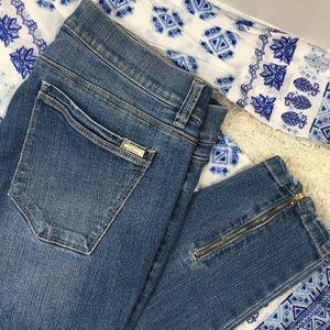 WHBM skinny jeans zipper leg